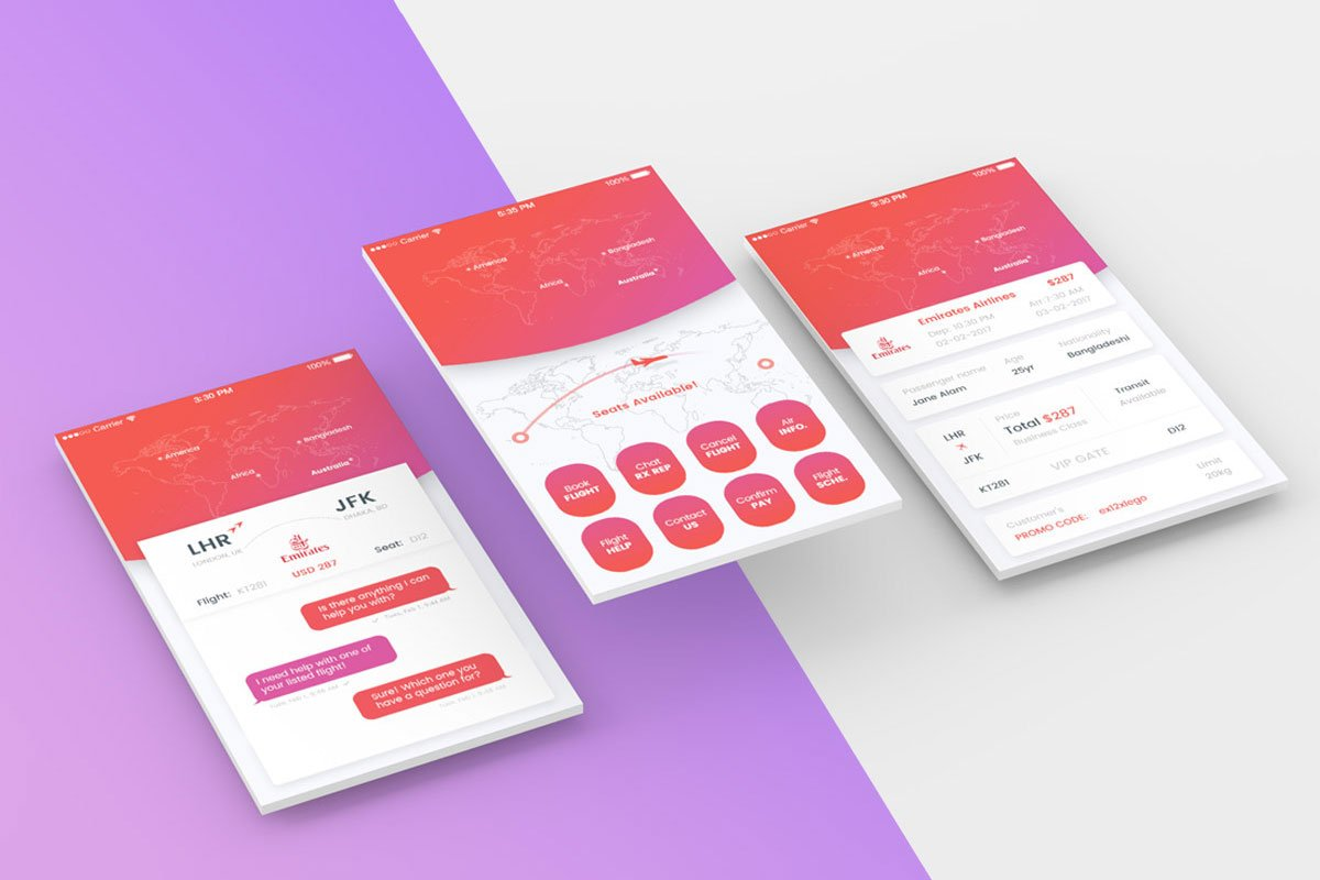 Free Perspective Mobile App Screens Mockup