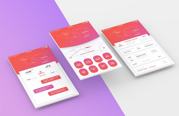 Free Perspective Mobile App Screens Mockup is a perspective view mockup of mobile app screens, you can easily presentyourapp design in this mockup.