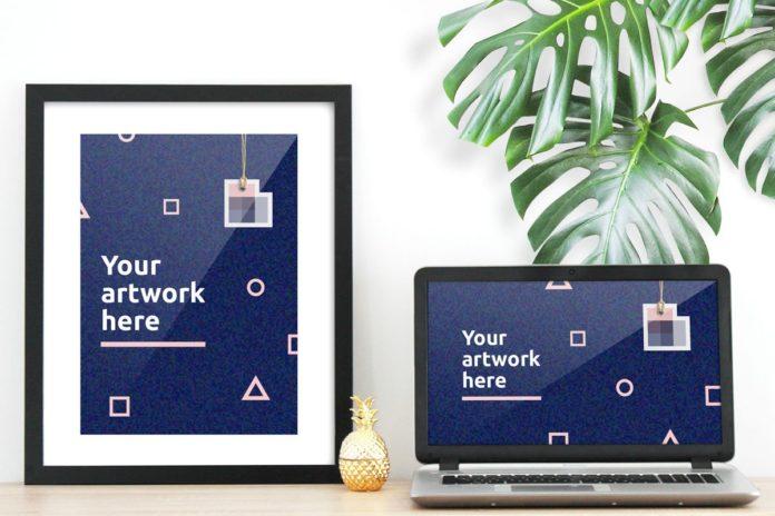 Free Poster Computer Mockup