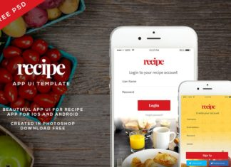 Free Recipe App UI PSD Template