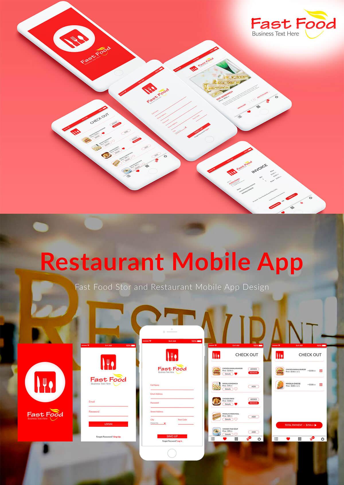 Free Restaurant Mobile App UI
