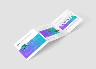 Free Square Trifold Brochure Mockup Z-Fold