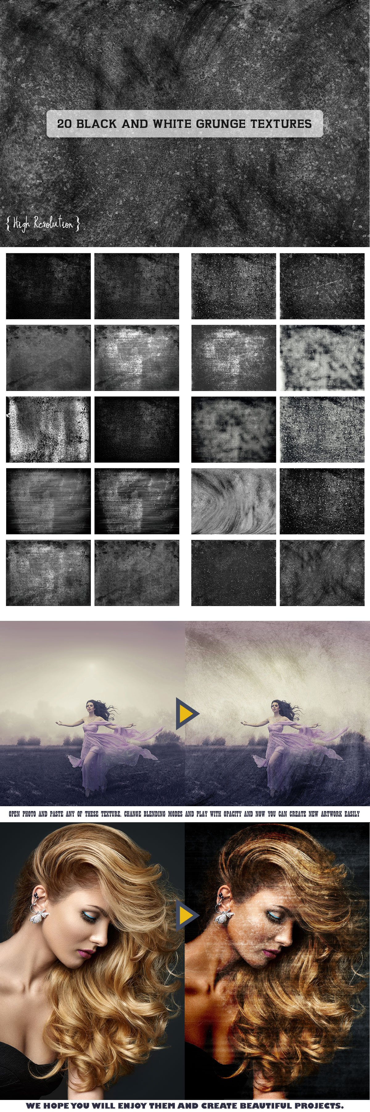 20 Free High Resolution Black And White Grunge Textures