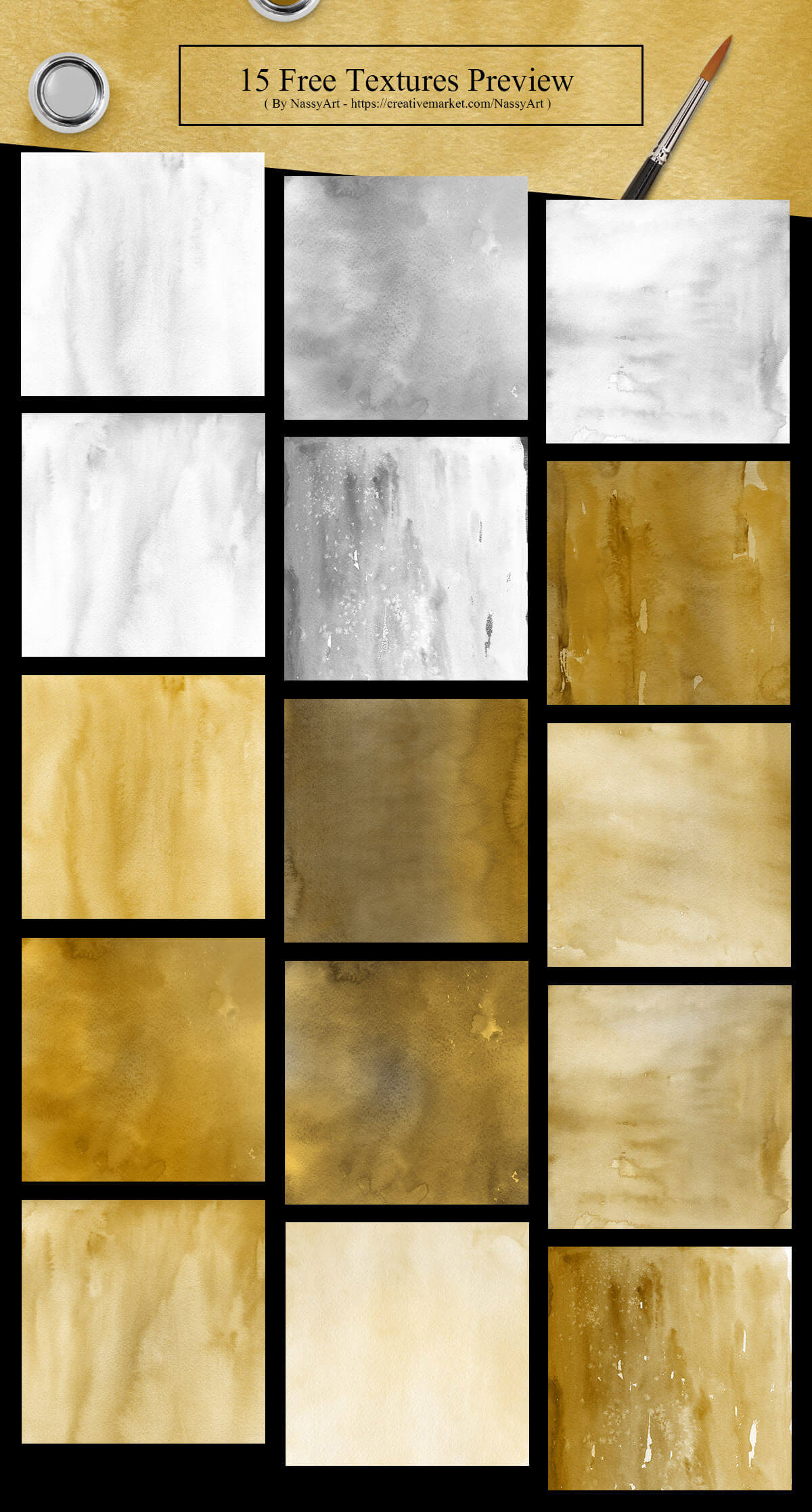 15 Free Gold Silver Watercolor Textures