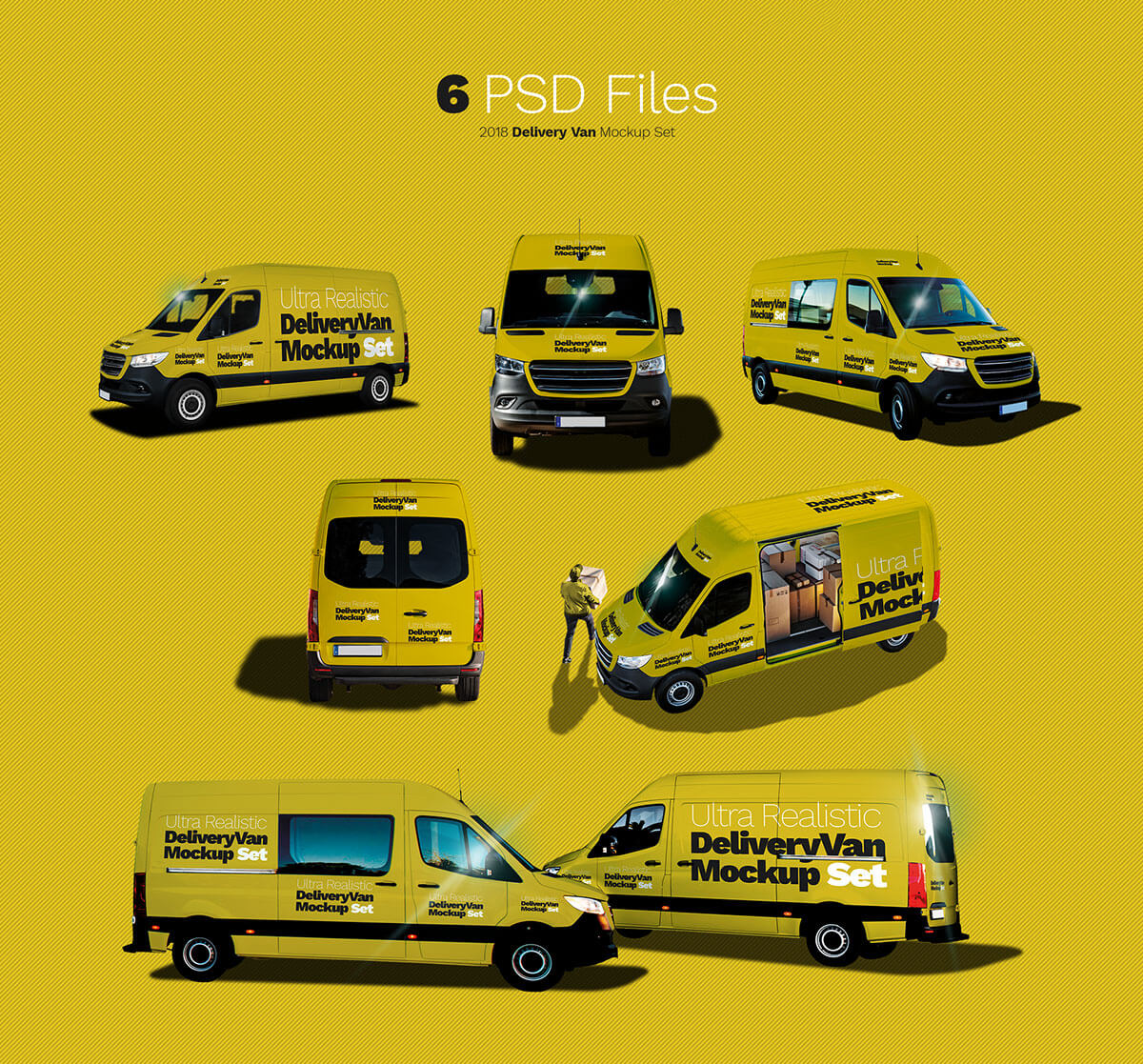 Free Delivery Van Ultra Realistic Mockup Set