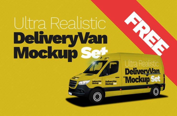 Free Delivery Van Ultra Realistic Mockup Set