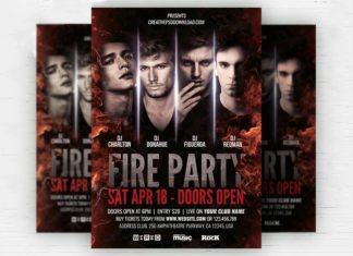 Free Fire Party Flyer PSD Template