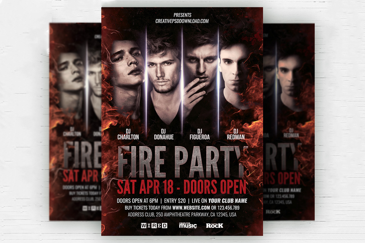 Free Fire Party Flyer Psd Template Creativetacos