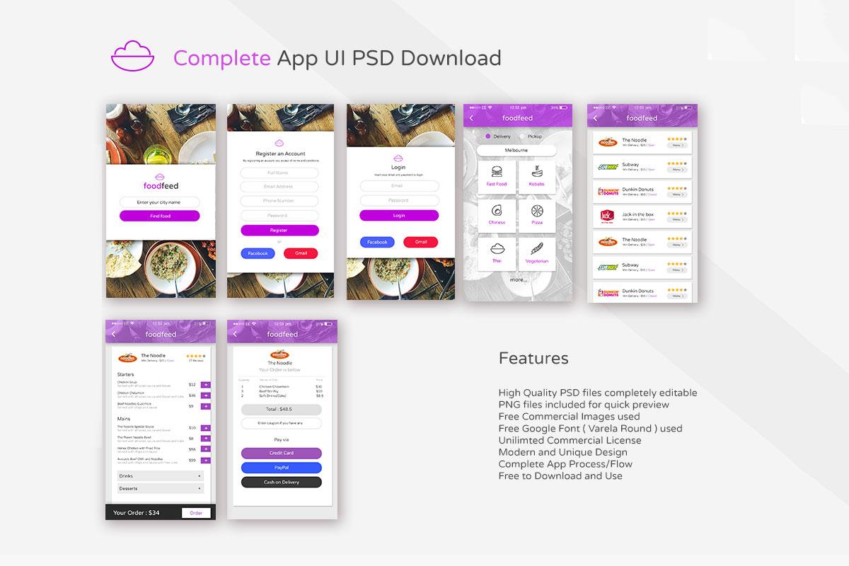 Free Food Order App UI PSD