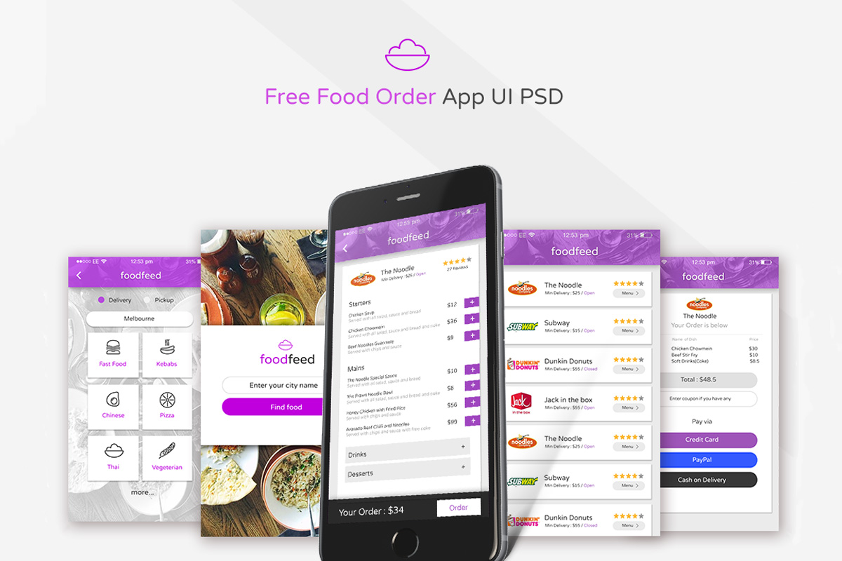 Free Food Delivery App UI PSD