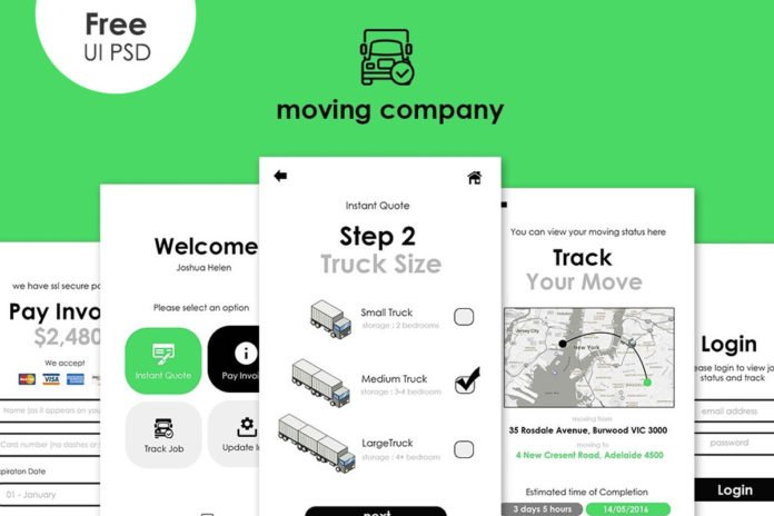 Free Moving App UI PSD Template