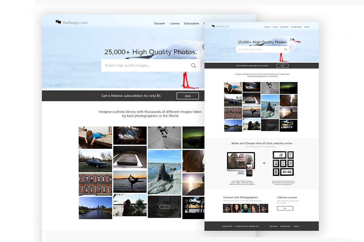 Free Photo Stock Marketplace Ladning Page PSD Template