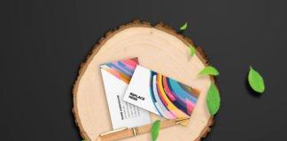 Free Wooden Stationery Mockup