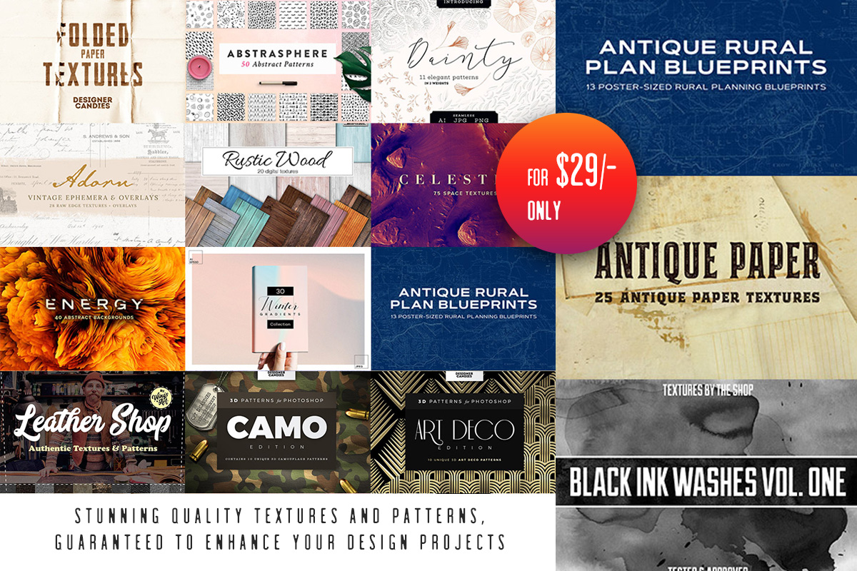 The Diverse Textures and Patterns Collection Just $29
