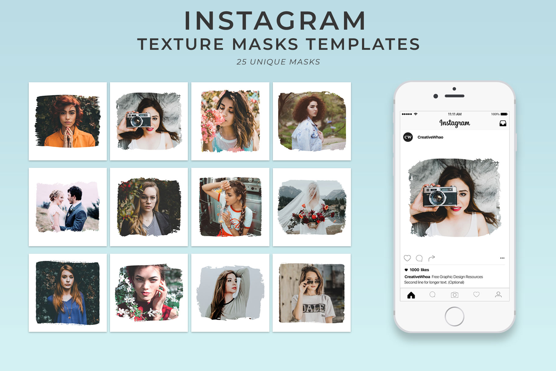 25 Textured Instagram Mask PSD Templates