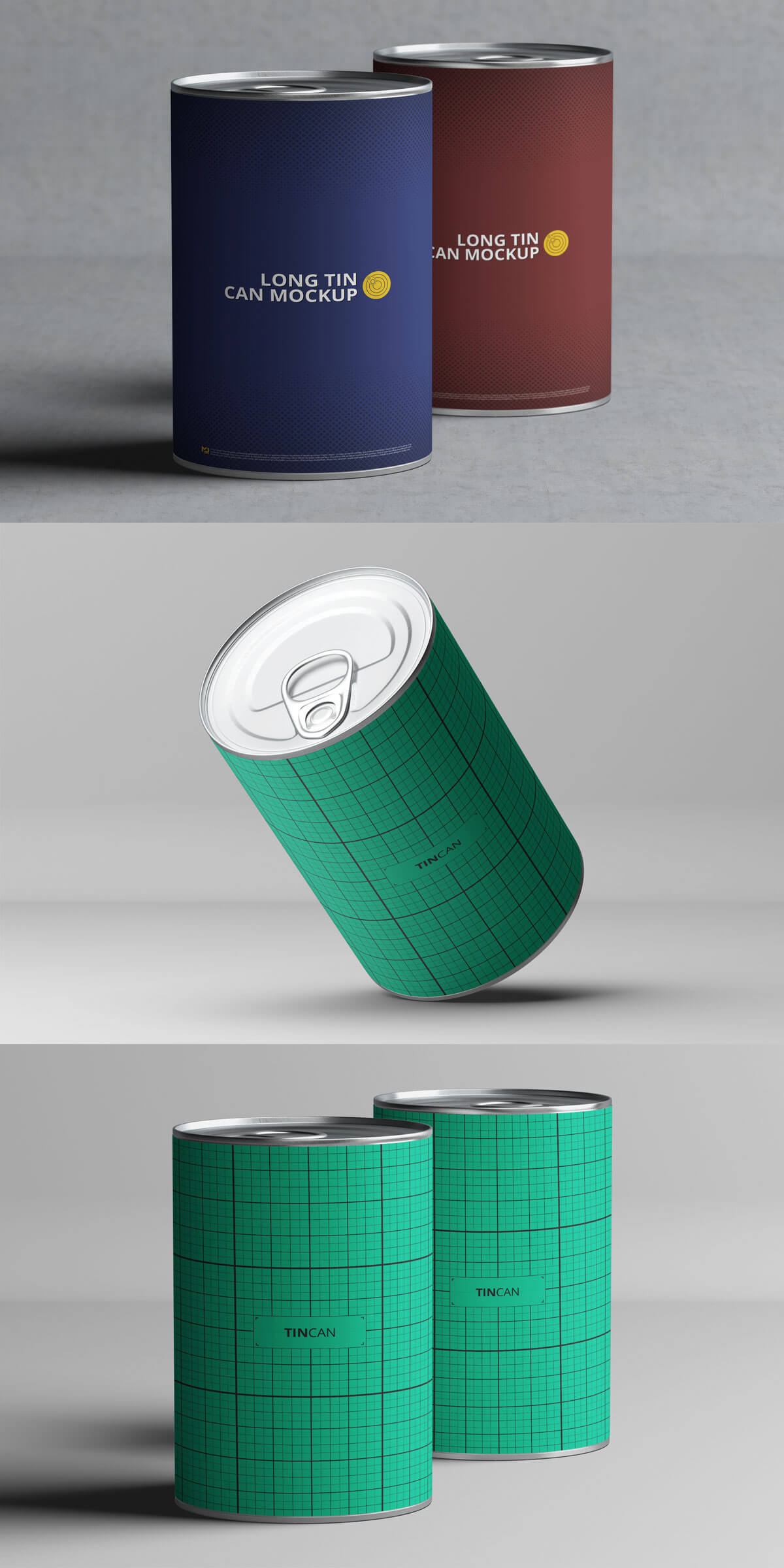 Free Long Tin Can Mockup