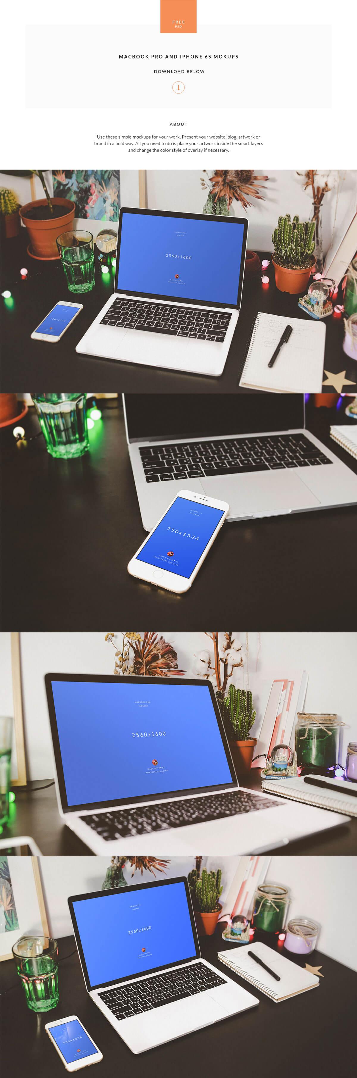Free Macbook Pro Iphone 6S Mockups PSD