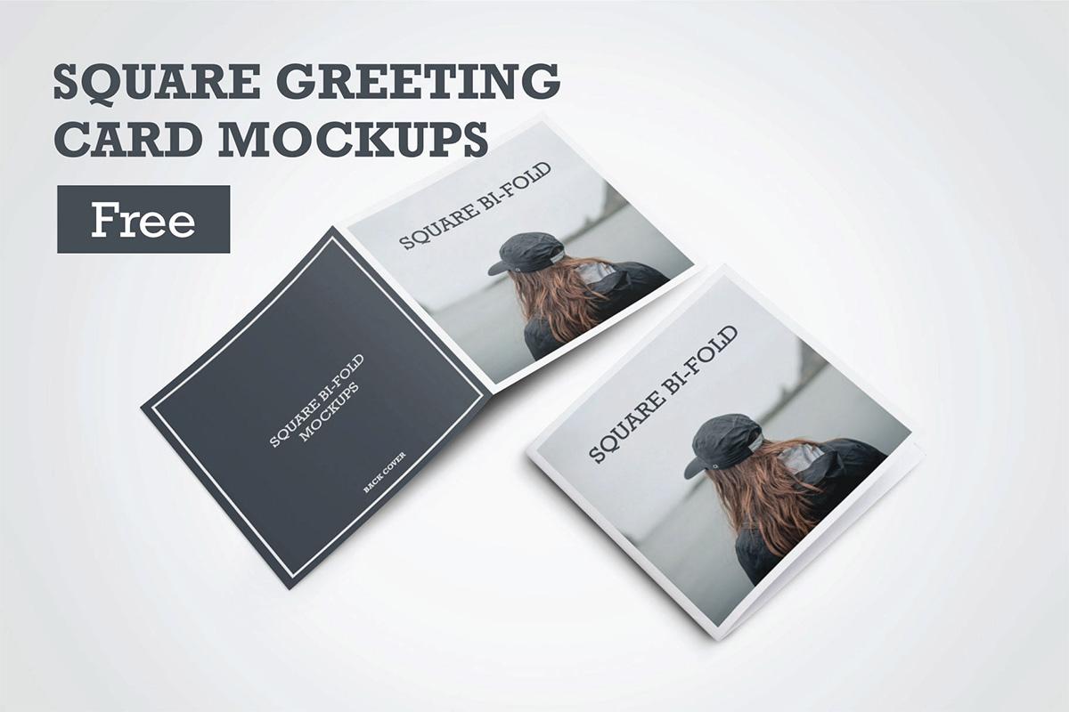 Free Square Greeting Card PSD Mockup