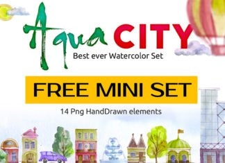 Free Watercolor Aqua City Set