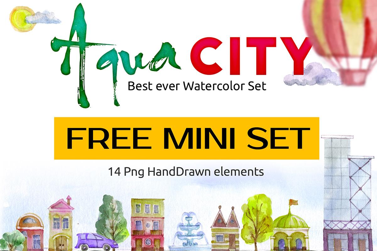 Free Watercolor Aqua City Set