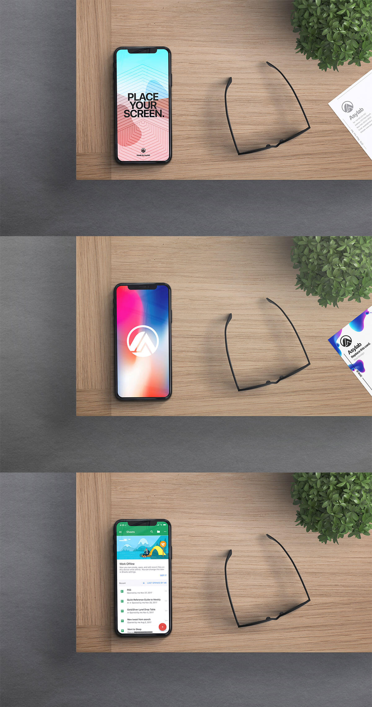 Free iPhone X Desk Mockup