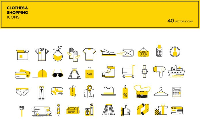 40 Free Modern Flat Shopping Vector Icons