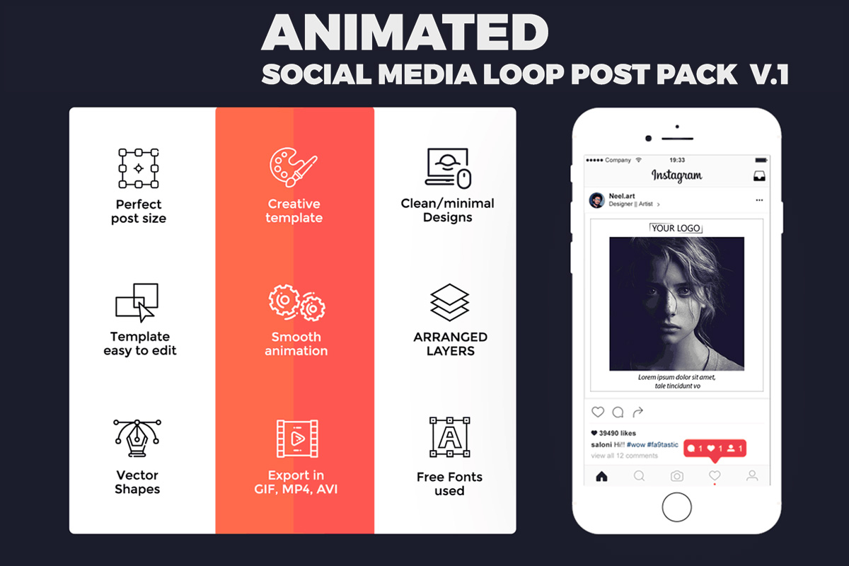 Free Animated Social Media Loop Post Pack