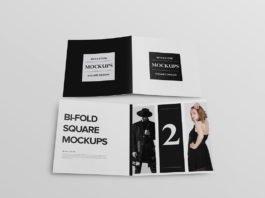 Free Bi-Fold Square Brochure Mockup