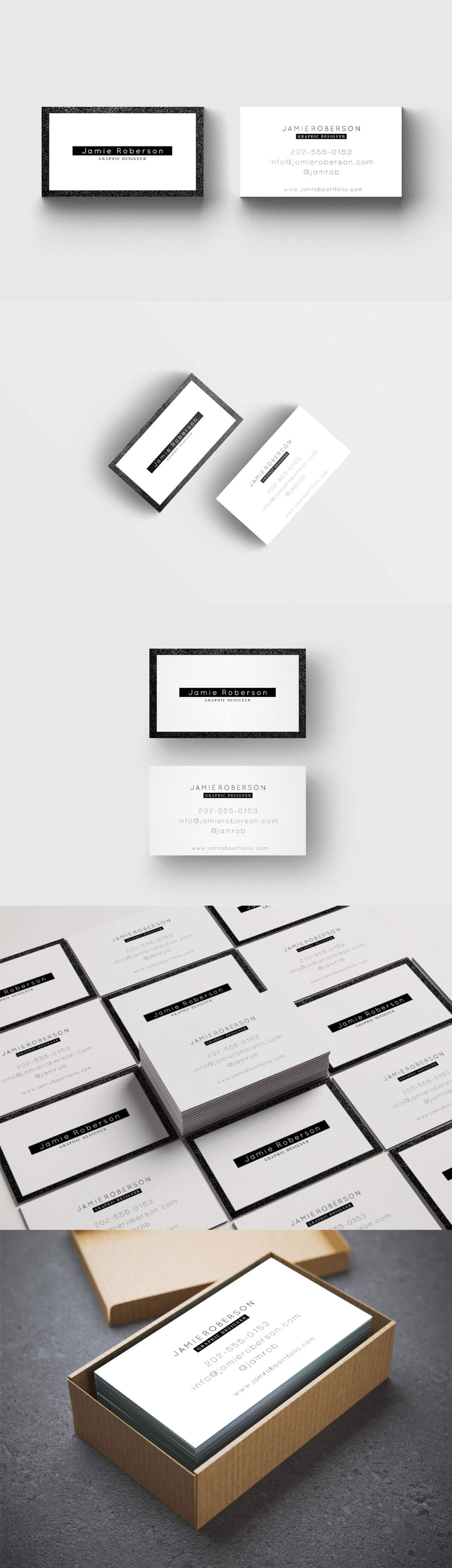Free Black White Business Card PSD Template