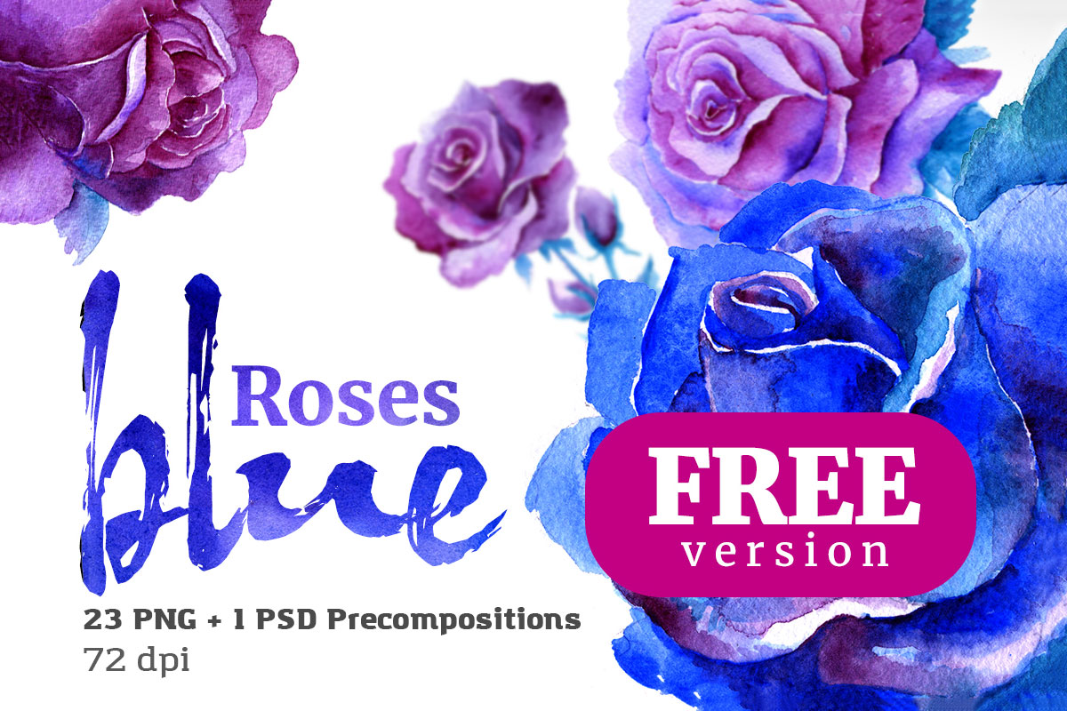 Free Blue Roses Floral Watercolor Set