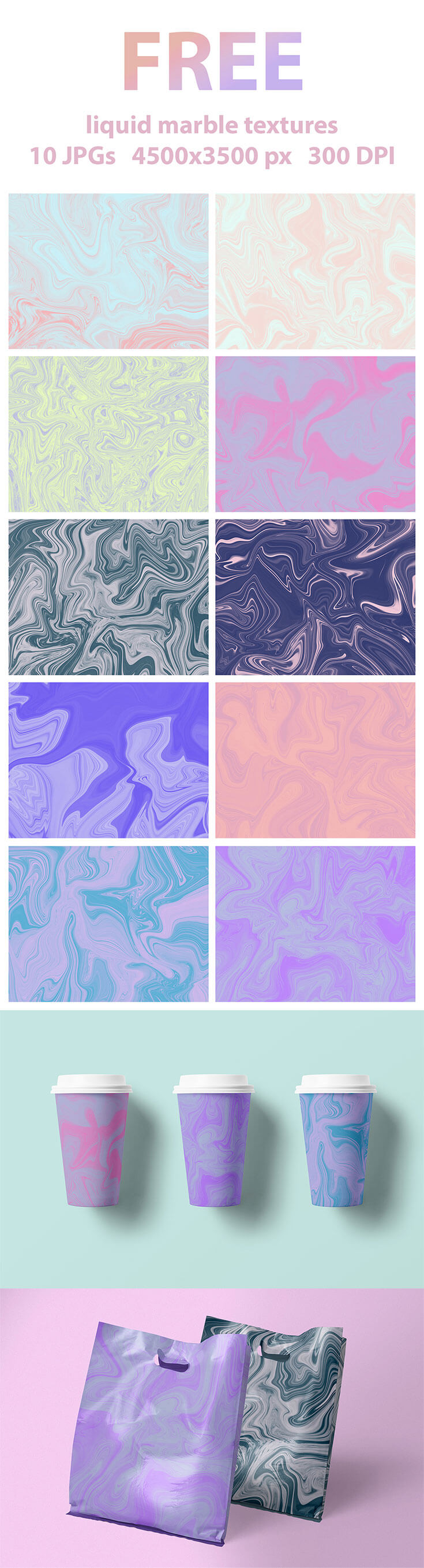 Free #Liquid #Marble #TexturesPackcontains 15 textures, great for distressing your graphic designs and illustrations. You can use them for backgrounds, business cards, textile printing, editorial design,greeting cards, banners, etc.