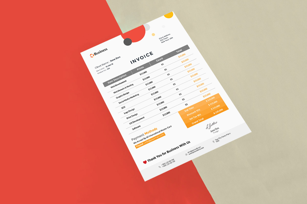 Free Minimalist Invoice Psd Template Creativetacos