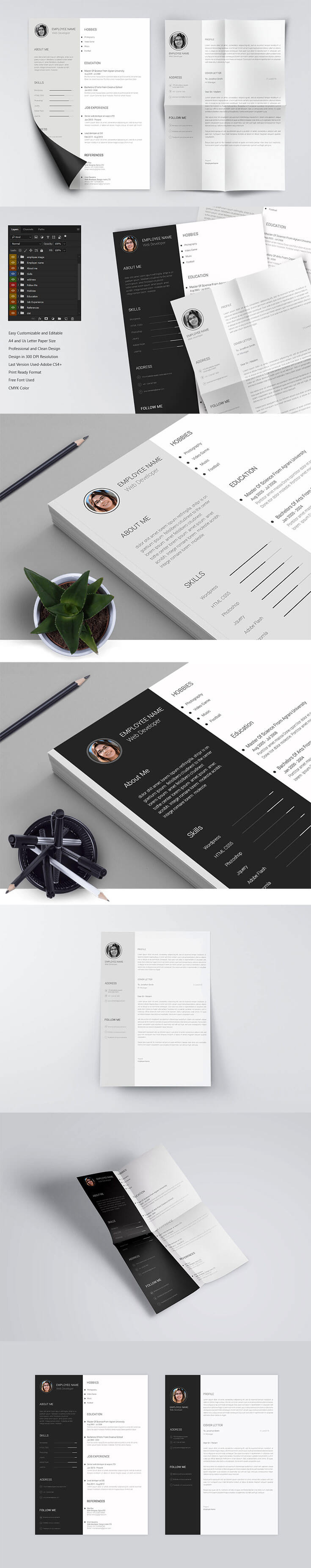 Free Minimo #Minimal #Resume PSD #Template is a clean and simple creative resume template to get your dream job. It is available in PSD file format, so easy to customize to give it your own unique personal touch.