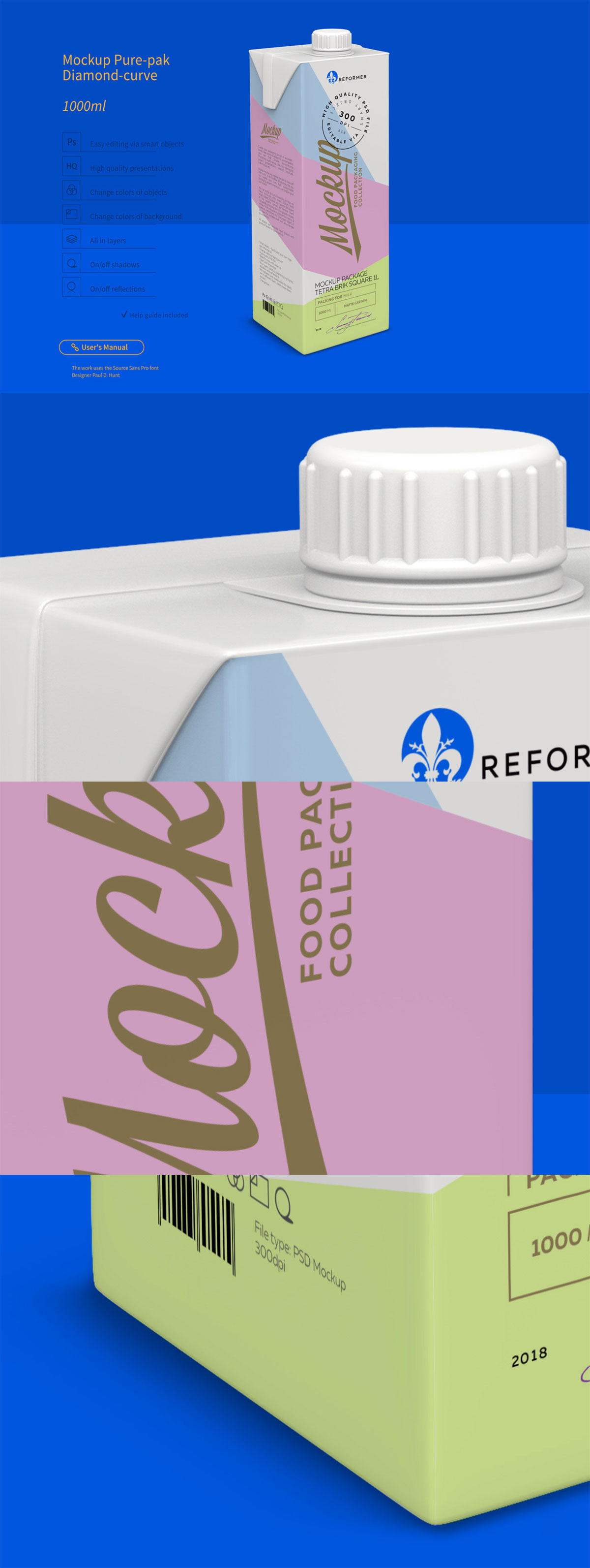 Free Tetra Brik Square Mockup Package 1L