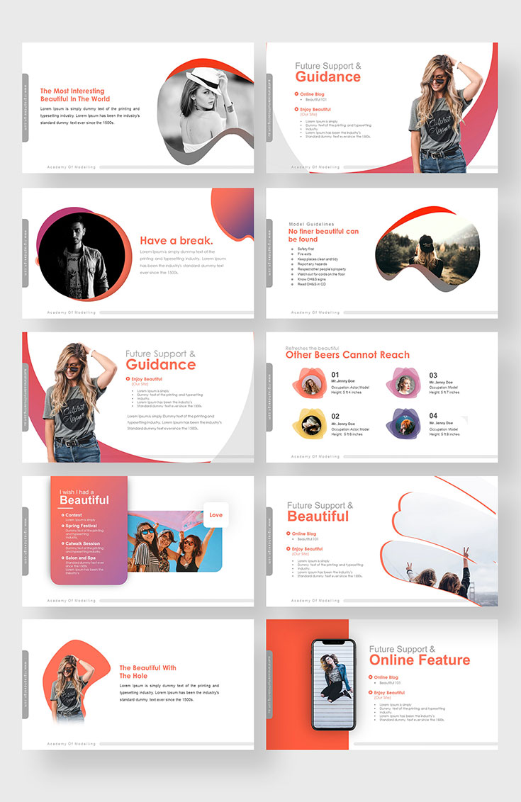 Make your modeling academy presentation memorable with this #free #powerpoint #template. This template is easy to edit and does not require high design skills to use it.
