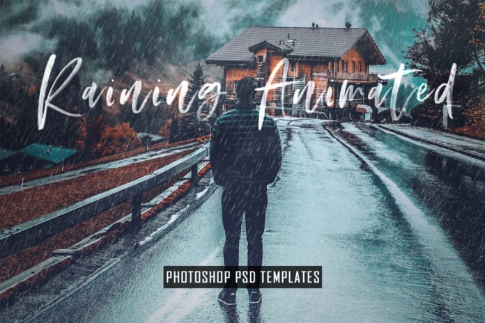 Animated Raining Photoshop PSD Template & Actions is exclusive & can easily create a ultra realistic animated rain fall effect with this PSD Template.