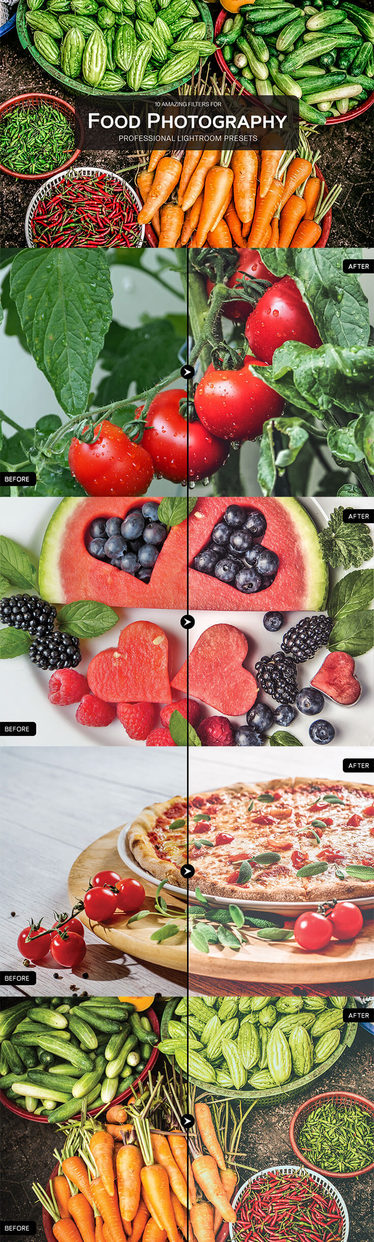10 Free #Food #Photography #Lightroom Presets Pack helps food photographers to make their shots yummy and powerful and was specially designed to give your food photography superpowers. This Food Collection is a must have for food photographers, wedding photographers & food bloggers. A professional photographer can save precious time by using this effect.