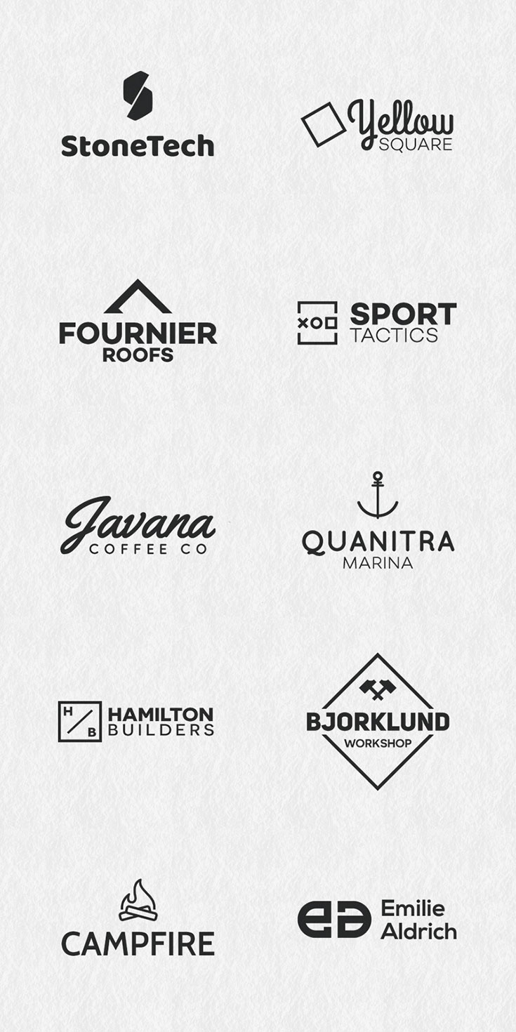 10 #Free #Minimal #Logos is coming from Bartosz Wesolek. This template pack includes 10 logo templates in AI, EPS and PDF formats. You can scale all images up or down in size without worrying about the loss of any details in Adobe Illustrator.