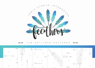60 Free Watercolor Feather Elements