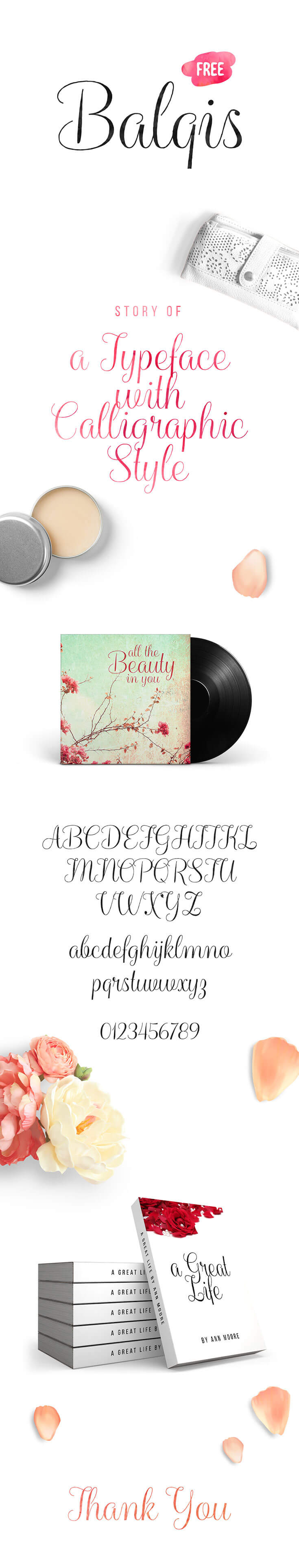 #Free Balqis #Calligraphy #Font is a feminine striped-rough calligraphy typeface that presents a casual and natural feeling. It has a high contrast and very legible as a script font. It is suitable for wedding invitations, greeting card designs, logos, or everything you may think it suits.
