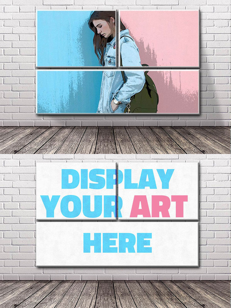 Free Brick #Wall #Art #Mockup was made by PhotoshopSupply will help you display your art in a beautiful creative way.It comes with PSD (Photoshop file format) with a photo frame mockup and a white brick wall background. The photo mock-up comes with a posterization effect that you can edit or remove.