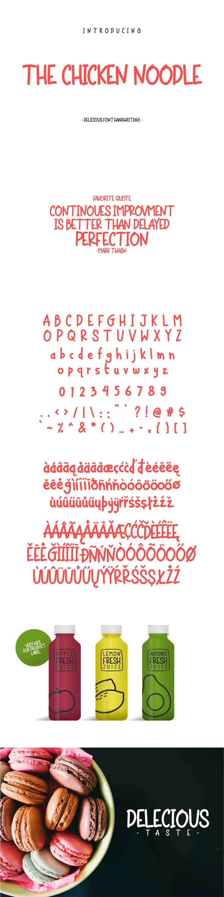 Free Chicken Noodle #Display #Font is a font with #handwriting style, it will give a relaxed impression on your product design. This font is suitable for use in product labels, posters, logos, videos, animations or other products that require a relaxed impression.