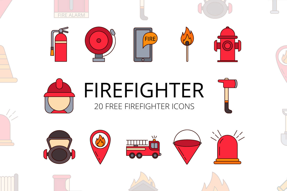 Free Firefighter Vector Icon Set