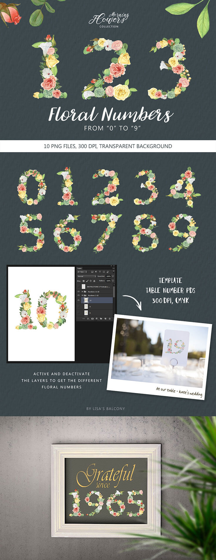 #Free #Floral #Numbers Clipart are designed to make your creative projects look romantic and elegant. It also includes a PDS template to create printable cards to enumerate tables in weddings and special events.
