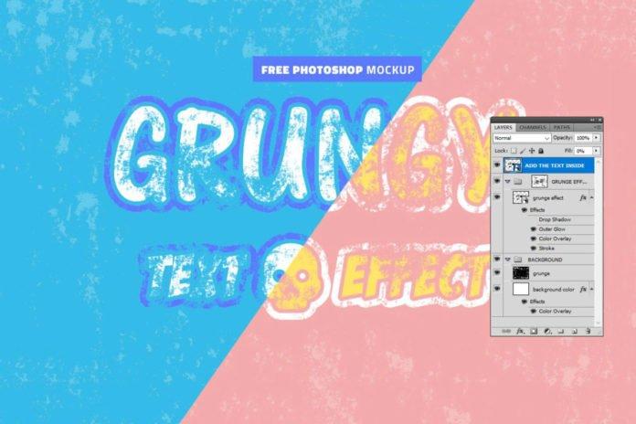 Free Grunge Effect Photoshop Mockup