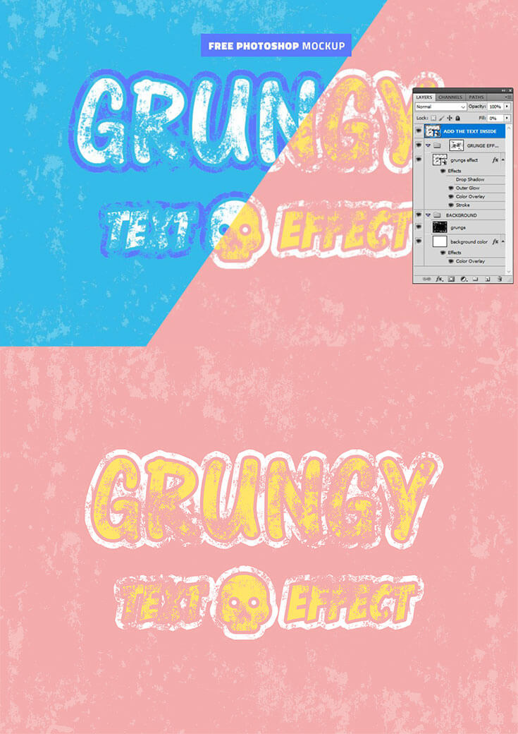 Free #Grunge Effect #Photoshop #Mockupis here to help you create grunge effects in Photoshop using text and shapes. Download this template, then simply add your text/shape/logo inside the smart object to get the awesome result. You can easily change the colors and other layer styles to customize the result to your liking.