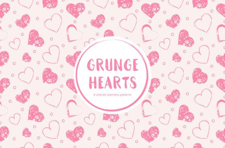 Free Grunge Hearts Seamless Pattern