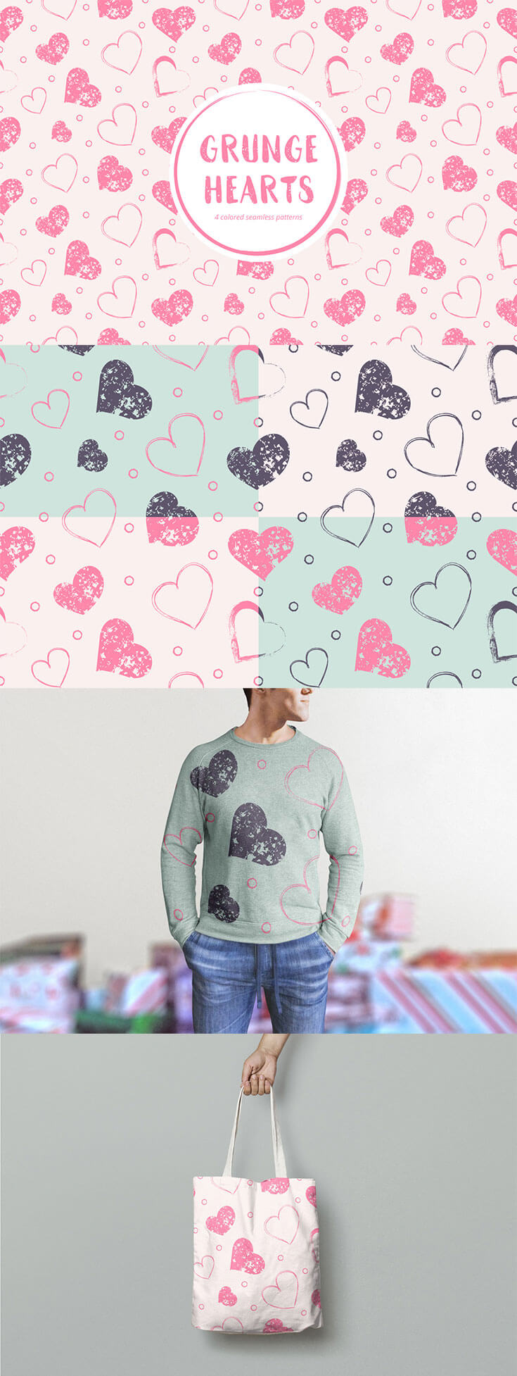 Free Grunge #Hearts #Seamless #Pattern Pack can be applied to many things. They will look stylish. This can be a variety of clothing, household items and home textiles, stationery and accessories for gadgets. The Enumeration can be very long. The whole set you can easily use for commercial or personal purposes.