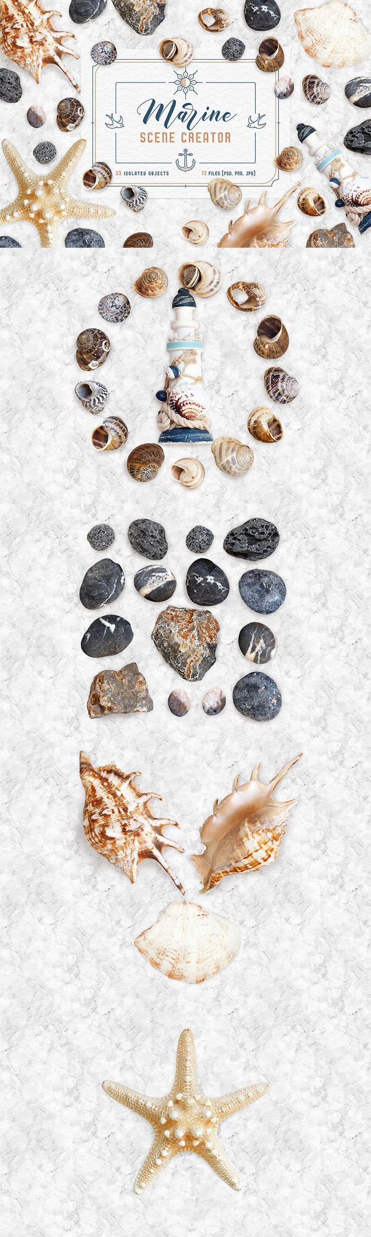Free Marine #Scene #Creator #Mockupare coming from TimXez. It is available in a neat PSD format with smart layer to make your work easier. All the elements are movable. This mockup scene contains collection of various marine objects, for ex: Stones, Little shells, Big shells, Starfish, and Souvenir are isolated.