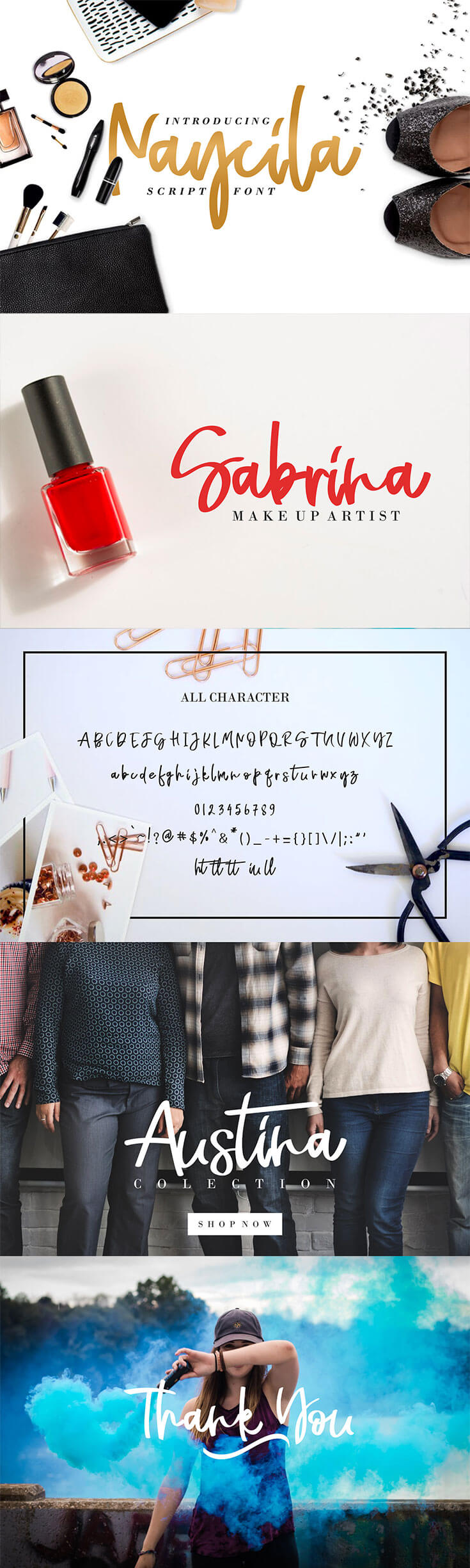#Free Naycila #Script #Font is a handwritten fontby a softly made woman's hand. This font is suitable for the needs of logos, flyers, brochures, posters, invitations, quote, and all design things that need a soft touch of writing.